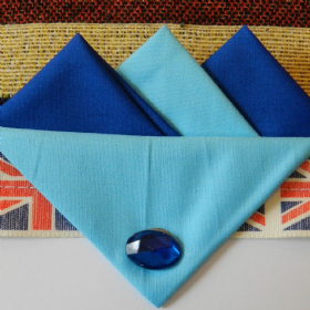 Dark Blue and Light Blue Hankie With Light Blue Flap and Pin